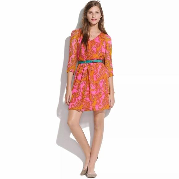 Madewell Dresses & Skirts - Madewell Broadway & Broome Pink Paisley Silk Dress